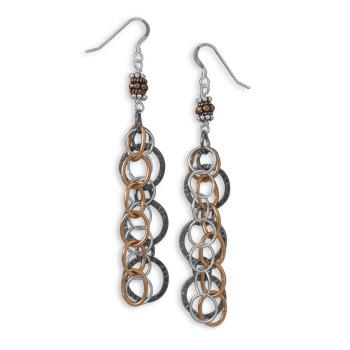 Sterling Silver Tri Tone Strand Drop Earrings