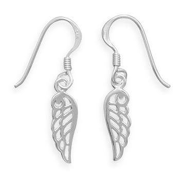 Sterling Silver Angel Wing Wire Earrings