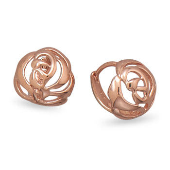 Rose Gold-plated Sterling Silver Cut Out Rose Earrings