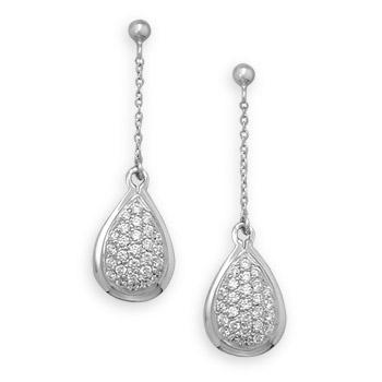 Sterling Silver Cubic Zirconia Tear Drop Earrings