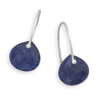 Sterling Silver Pear Rough-cut Sapphire French Wire Earrings