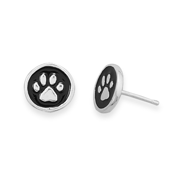 Sterling Silver Enamel Paw Print Stud Earrings