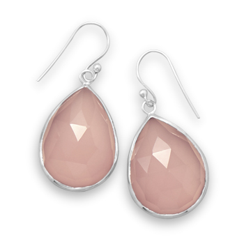 Sterling Silver Pink Chalcedony Earrings