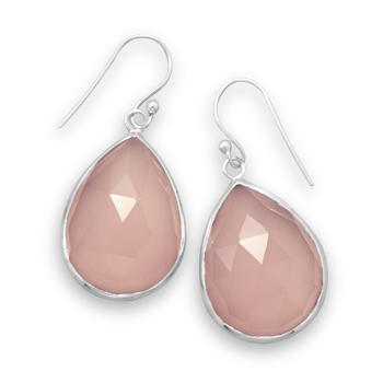 Sterling Silver Pink Chalcedony Earrings