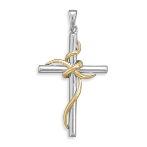 14kt Gold Plated Sterling Silver 1 1/2in Wrapped Cross