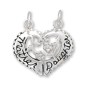 Sterling Silver Heart Mother Daughter Break-apart Charm