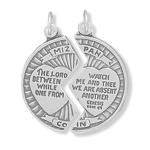 Sterling Silver 1in Mizpah Break-apart Round Charm
