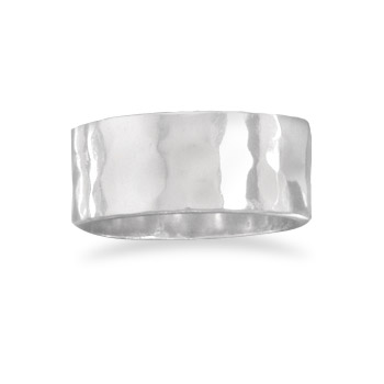 Sterling Silver 8mm Hammered Ring