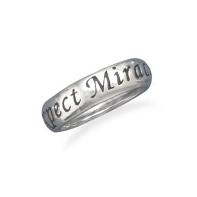 Sterling Silver 5.5mm Expect Miracles Ring