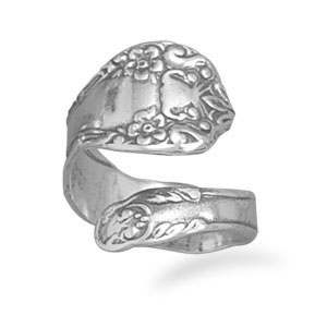 Sterling Silver Oxidized Floral Spoon Ring