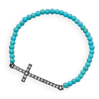 Magnesite 7in Sideways Crystal Cross Bracelet