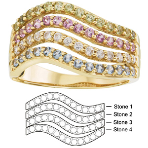 67df83d406078 Moana Mother's Ring 14kt Yellow Gold with 4 simulated birthstones