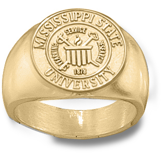 14kt Yellow Gold Mississippi State Men's Seal Ring