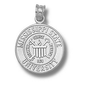 Sterling Silver 5/8in Mississippi State University Seal Pendant