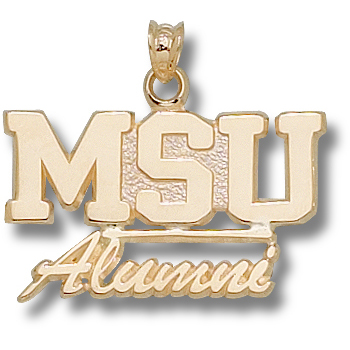 14kt Yellow Gold 5/8in Mississippi State MSU Alumni Pendant