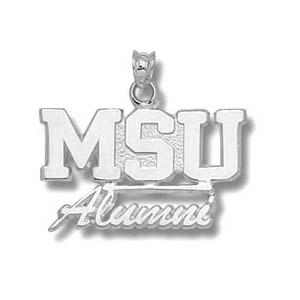 Sterling Silver 5/8in Mississippi State MSU Alumni Pendant