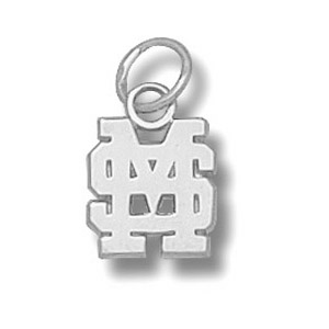 Sterling Silver 3/8in Mississippi State MSU Pendant
