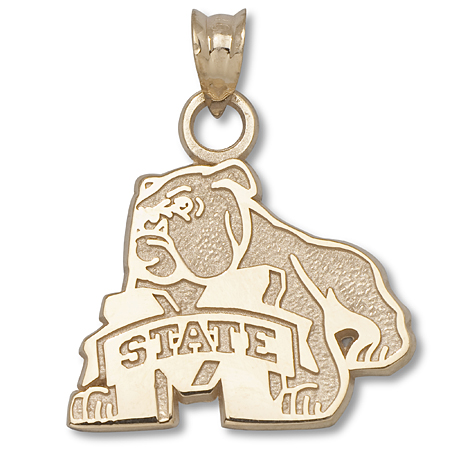 10kt Yellow Gold 5/8in Mississippi State Bulldog Pendant