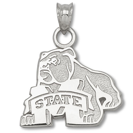 Sterling Silver 5/8in Mississippi State Bulldog Pendant