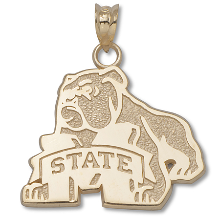14kt Yellow Gold 3/4in Mississippi State Bulldog Pendant