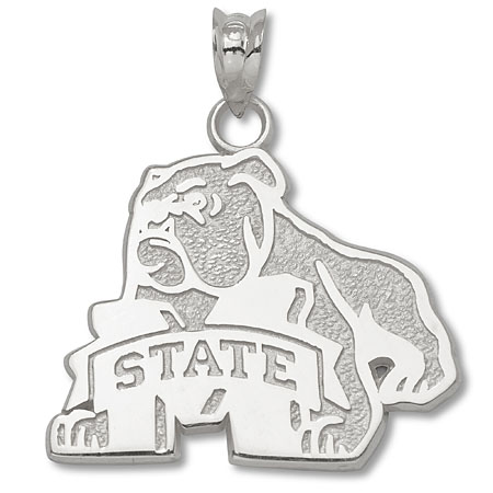 Sterling Silver 3/4in Mississippi State Bulldog Pendant