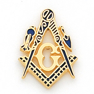 10kt Yellow Gold 7/8in Masonic Tie Tac with Blue Enamel