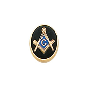 Oval Masonic Tie Tac - 10k Yellow Gold