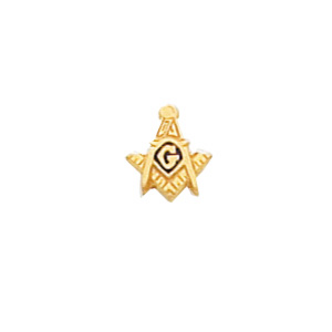 10k Yellow Gold Masonic Square and Compass Tie Tac