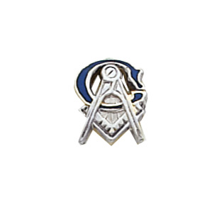 10k White Gold Masonic Tie Tac with Large G