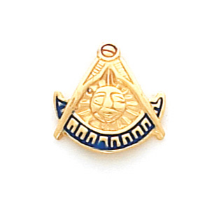 Masonic Past Master Tie Tac - 10k Yellow Gold