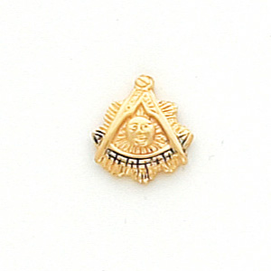 10kt Yellow Gold Past Master Tie Tac with Blue Enamel