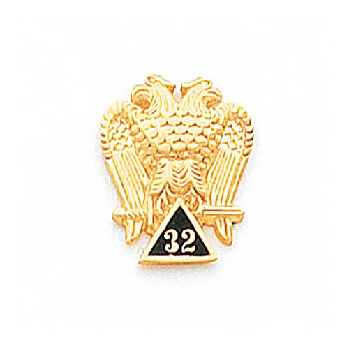 10k Yellow Gold 5/8in Scottish Rite 32nd Degree Tie Tac