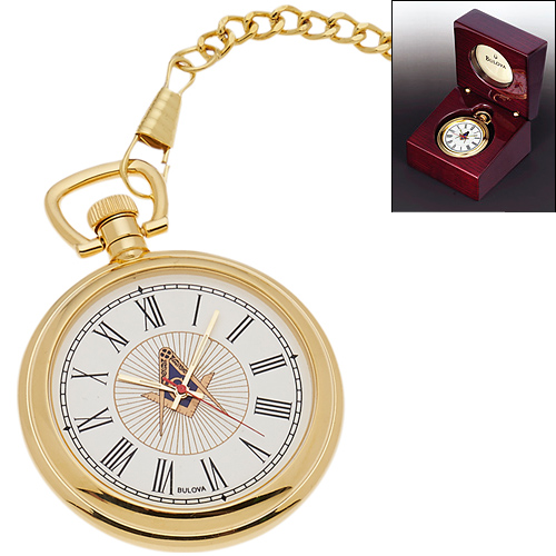 Gold-tone Masonic Pocket Watch with Chain