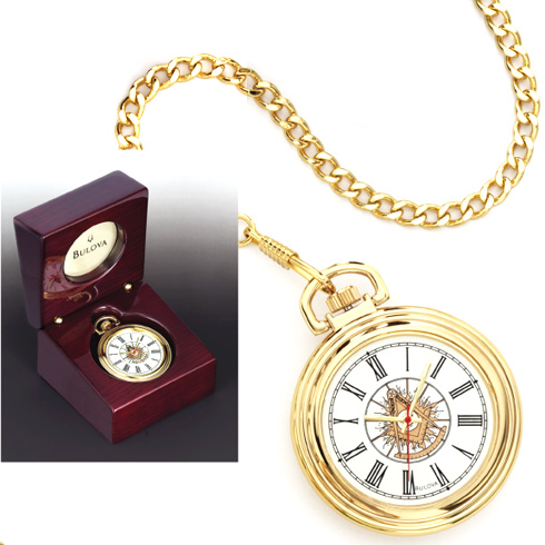 Gold-tone Past Master Bulova Pocket Watch with Chain