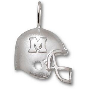 Sterling Silver 3/4in Miami Red Hawks Football Helmet Pendant