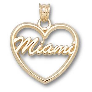 Miami Red Hawks 5/8in 14k Heart Pendant