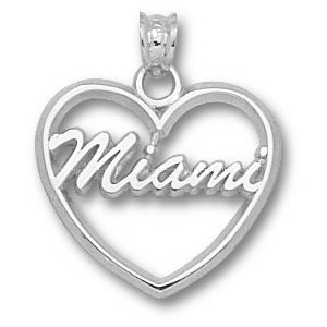 Miami Red Hawks 5/8in Sterling Silver Heart Pendant