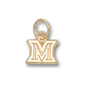 14kt Yellow Gold 1/4in Miami Red Hawks M Charm