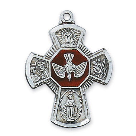 Sterling Silver 1in Red Enamel Four Way Medal & 24in Chain