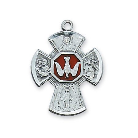 Sterling Silver 3/4in Red Enamel Four Way Medal & 18in Chain
