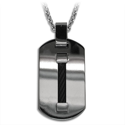 Edward Mirell Titanium Dog Tag with Single Black Cable 20in Necklace