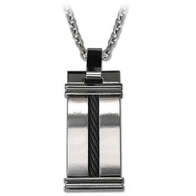 Titanium Necklace 20in with Single Black Cable