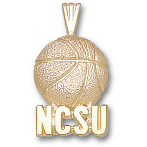 10kt Yellow Gold 3/4in NCSU Basketball Pendant