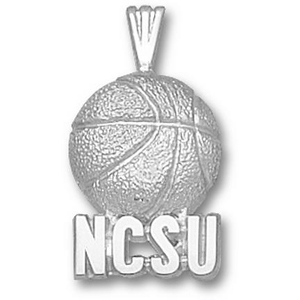 Sterling Silver 3/4in NCSU Basketball Pendant