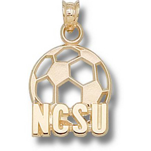 10kt Yellow Gold 5/8in North Carolina State Soccer Pendant