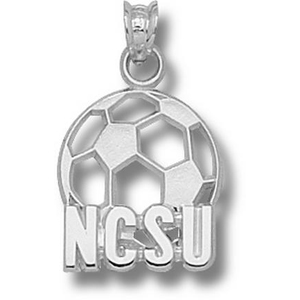 Sterling Silver 5/8in North Carolina State Soccer Pendant