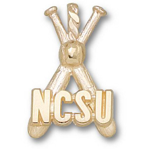 North Carolina State 7/8in 14k Bats Pendant
