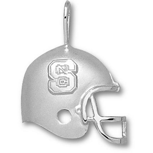 Sterling Silver 3/4in NC State Football Helmet Pendant