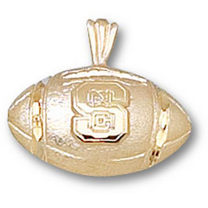 NC State Wolfpack 1/2in 14k Football Pendant