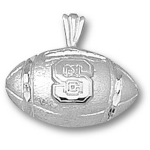 NC State Wolfpack 1/2in Football Pendant - Sterling Silver